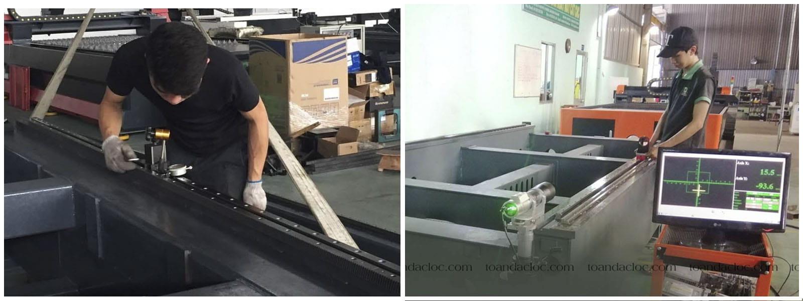 Lắp thanh răng và thanh trượt cho máy Laser